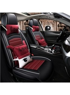 Classic Design Simple Colors Plus Cute Pillow Universal Leather Car Seat Cover