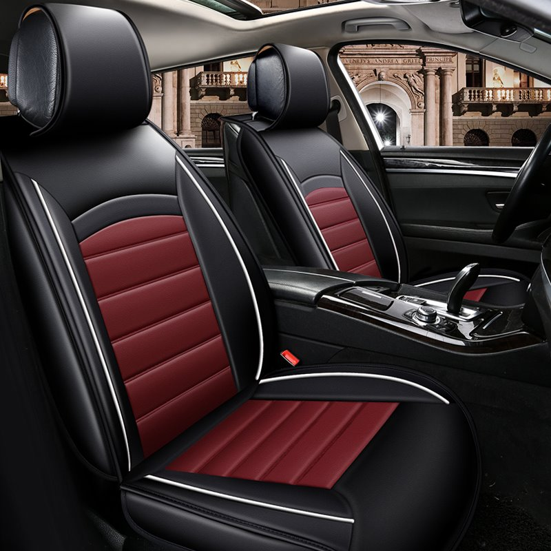Black Background Block Bright Color Durable Universal Leather Car Seat Cover