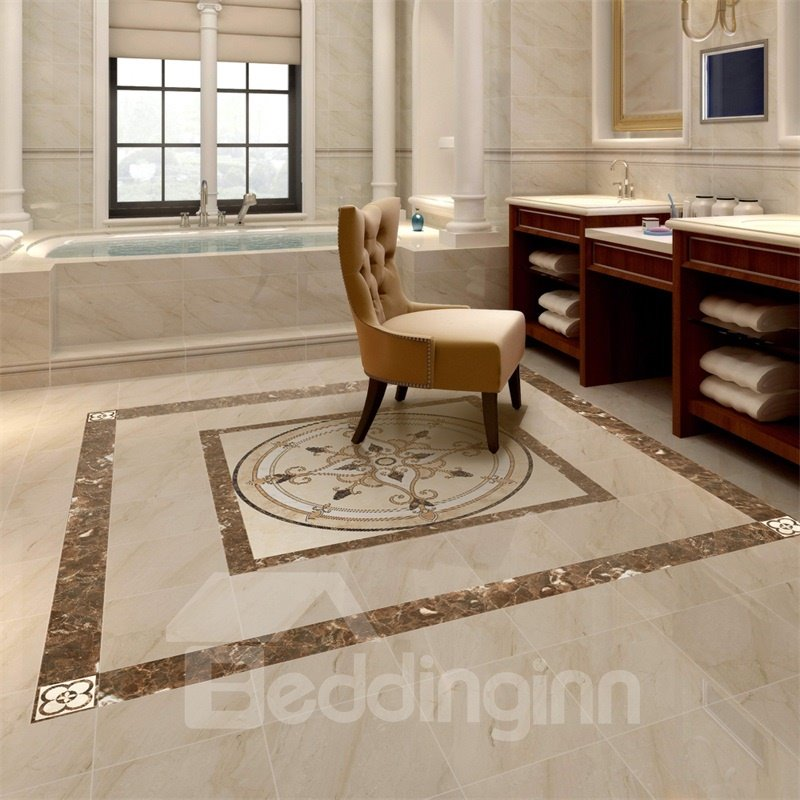 Square PVC Waterproof Eco-friendly Floor Art Tile Sticker