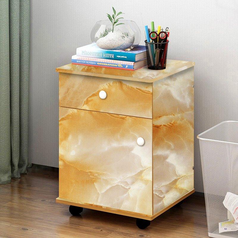 Yellow Faux Marble Wallpaper PVC Waterproof Self-Adhesive Cupboard Sticker