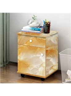 Yellow Faux Marble Wallpaper PVC Waterproof Self-Adhesive Cupboard Sticker