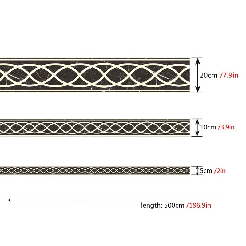 Curves PVC Waterproof Eco-friendly Floor Art Black Tile Sticker