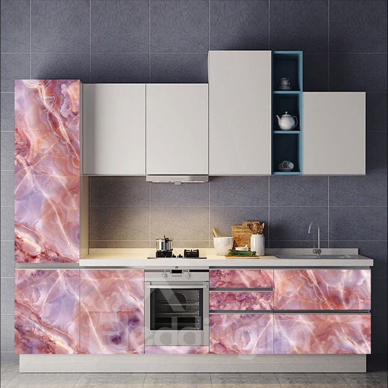 24*71in Faux Marble Wallpaper PVC Waterproof Self-Adhesive Cupboard Sticker