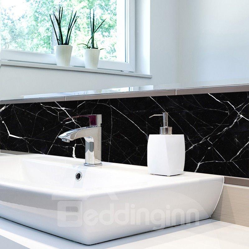 Black Faux Marble Wallpaper PVC Waterproof Self-Adhesive Cupboard Sticker