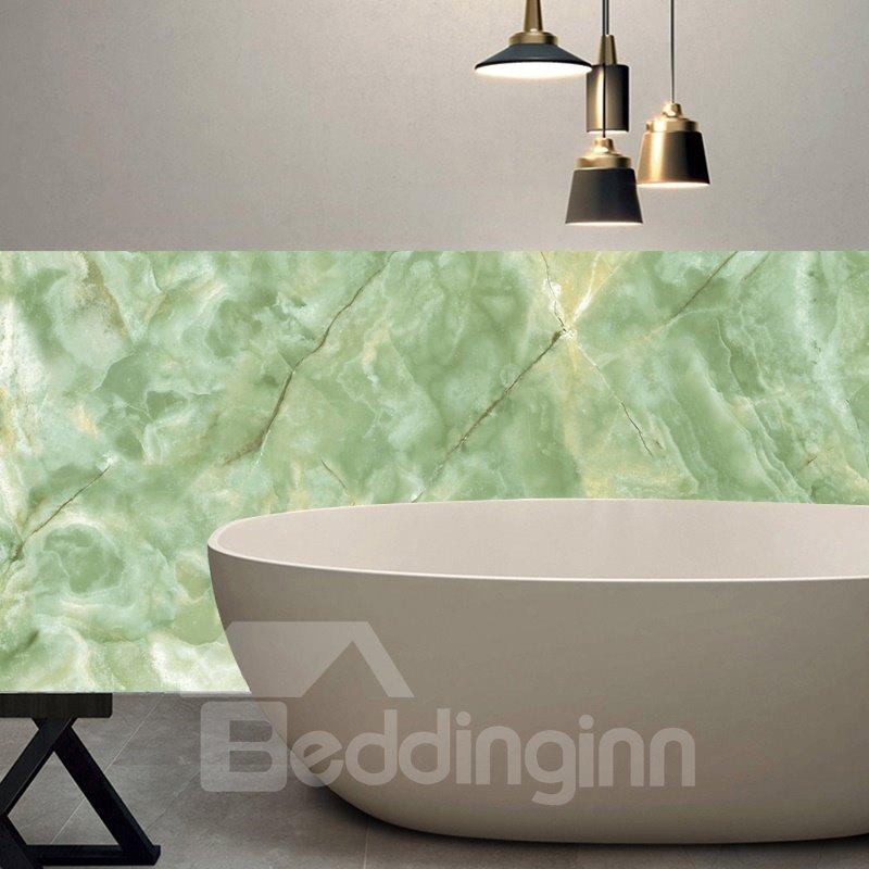 Green Faux Marble Wallpaper PVC Waterproof Self-Adhesive Cupboard Sticker