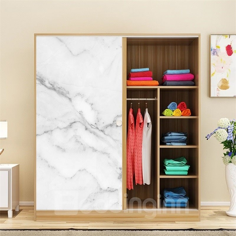 White Faux Marble Wallpapper PVC Waterproof Self-Adhesive Cupboard Sticker