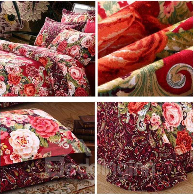 Full Size Red Flowers Blossom Pattern Brushed 4-Piece Polyester Bedding Sets/Duvet Cover