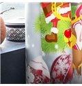 3D Cartoon Santa Claus and White Snowman Printed 2 Panels Custom Living Room Curtain