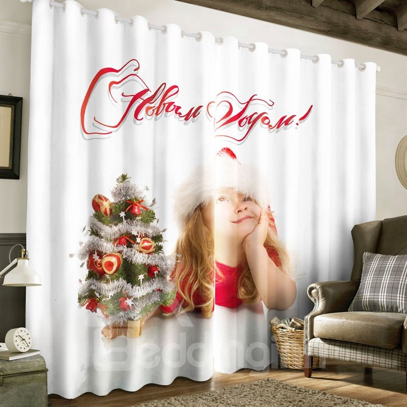 3D Lovely Baby and Christmas Tree Printed Decorative and Blackout Custom Curtain