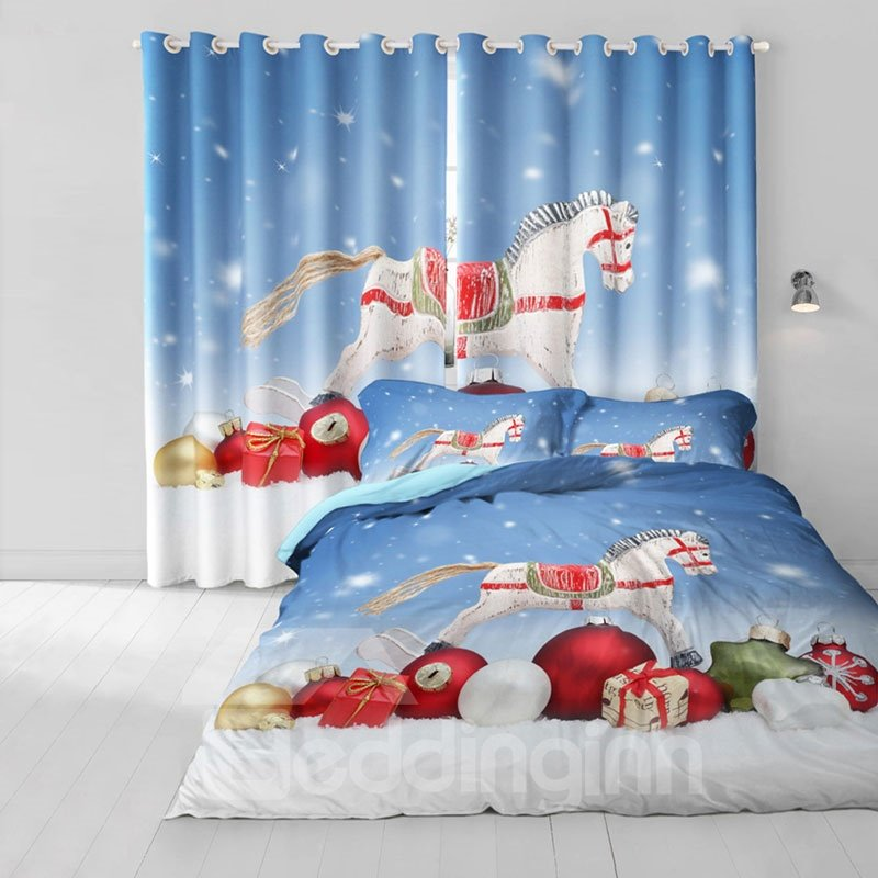 3D White Horse and Christmas Decorations Printed Polyester Custom Curtain