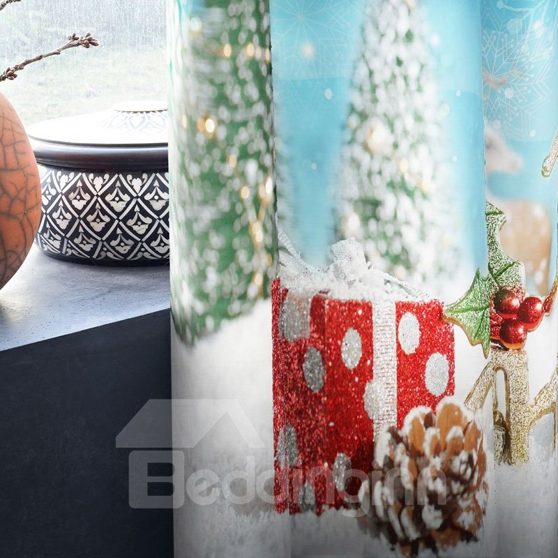 3D Snow Pine Trees and Bright Stars with White Snow Printed 2 Panels Decorative Curtain