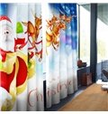 Santa Claus and Deer Printed Polyester Decorative and Blackout 2 Panels Custom Curtain
