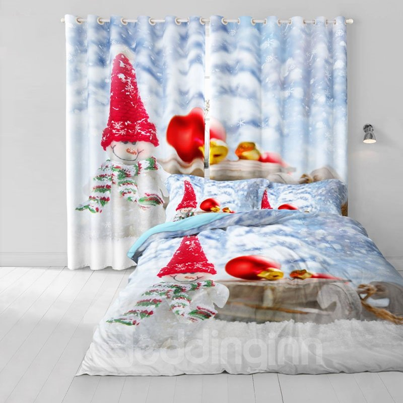 3D Lovely Snowman with Christmas Hat Printed 2 Panels Custom Blackout Curtain