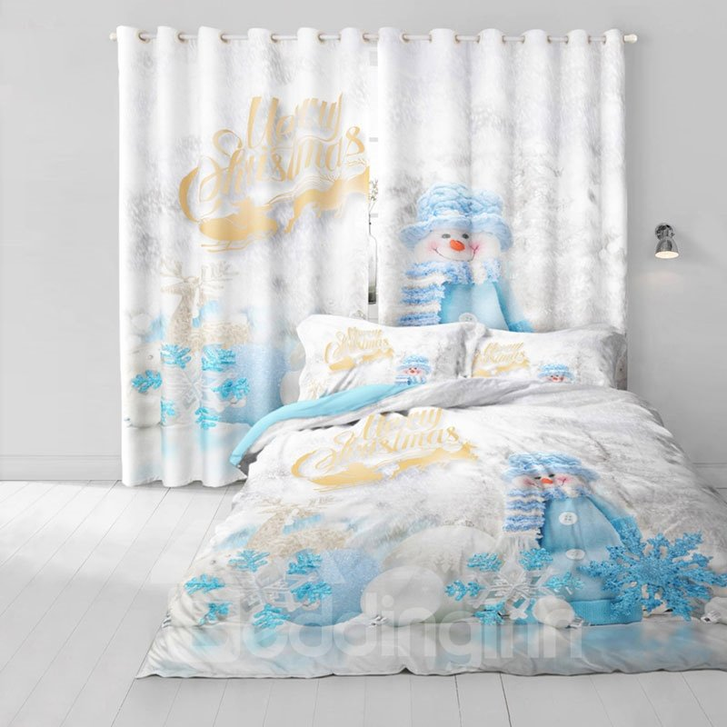 3D Snowman and White Snow Printed 2 Panels Custom Decorative Living Room Curtain