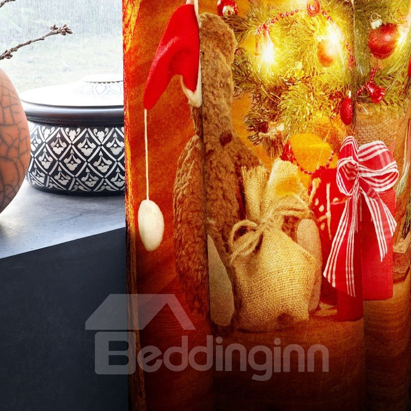 3D Red Bright Christmas Tree Printed 2 Panels Decorative Custom Curtain