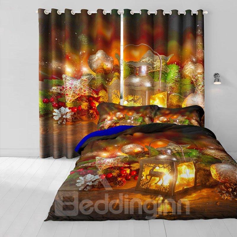 3D Wonderful Christmas Decorations Printed 2 Panels Custom Living Room Curtain