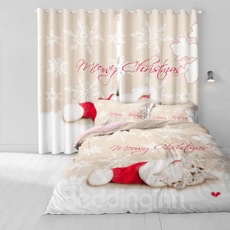 3D Cute Kitty with Christmas Cloth Printed Polyester Custom for Living Room