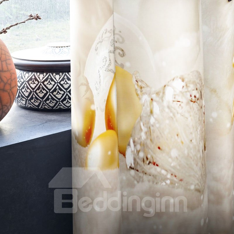 3D Lovely Bears and White Snow Printed Christmas 2 Panels Custom Curtain