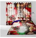 3D Lovely Santa Claus and Pretty Girl Printed 2 Panels Polyester Custom Curtain