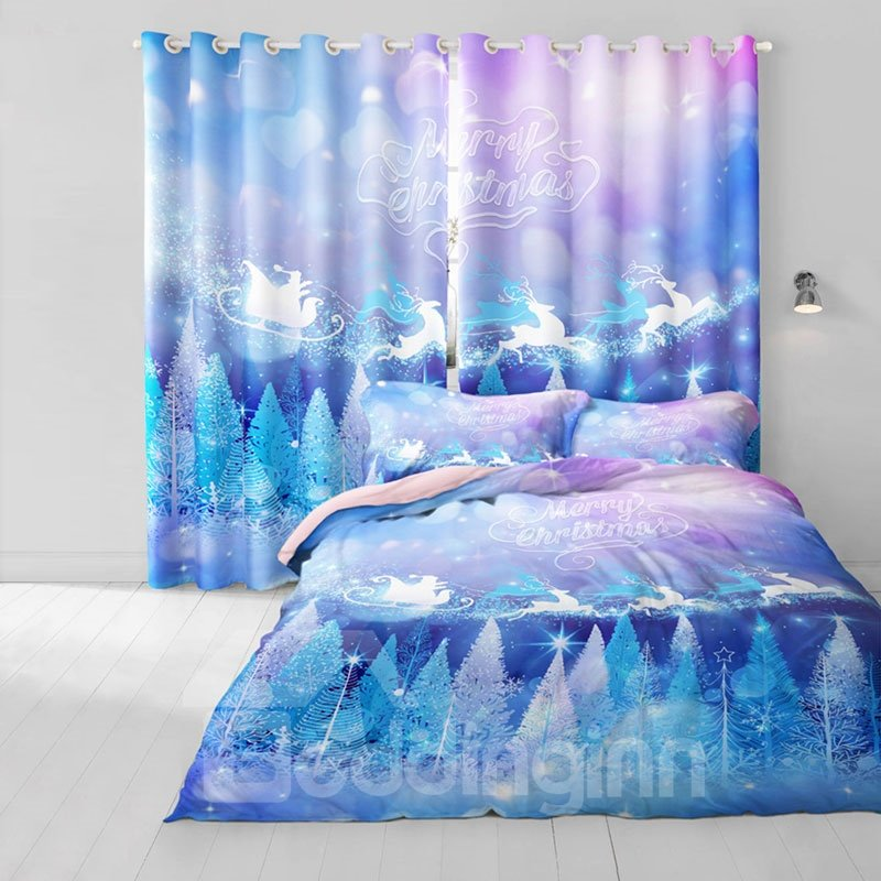 3D White Cedars and Cartoon Deer Printed 2 Panels Polyester Custom Curtain