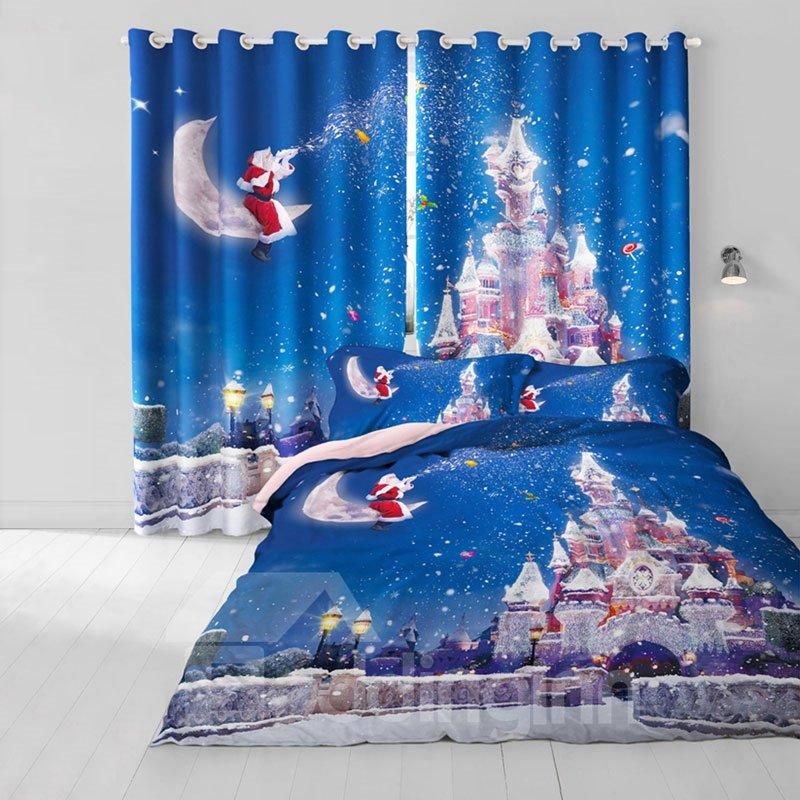 3D Kindly Santa Claus and Wonderful Castles Printed 2 Panels Decorative Curtain