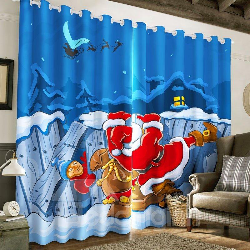 3D Cartoon Santa Claus in Night Printed Happy Christmas Polyester Custom Curtain
