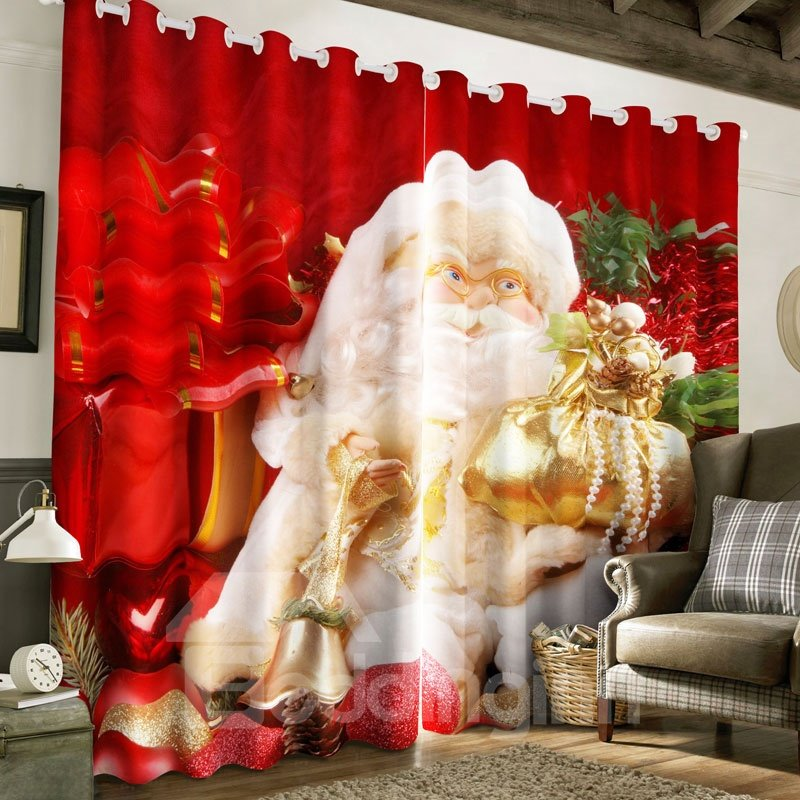 3D Kindly Santa Claus with White Beard Printed 2 Panels Polyester Custom Curtain