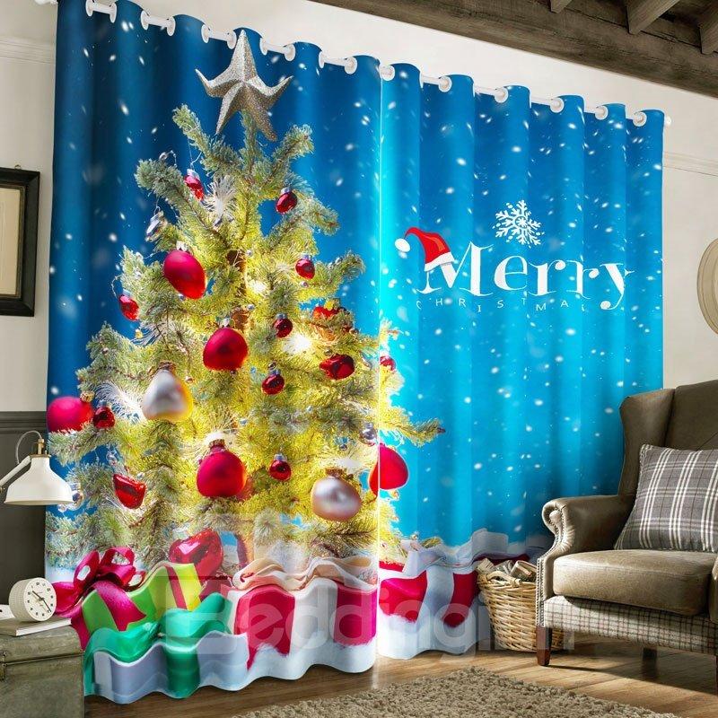 3D Wonderful Christmas Tree Printed Happy New Year Decorative Curtain