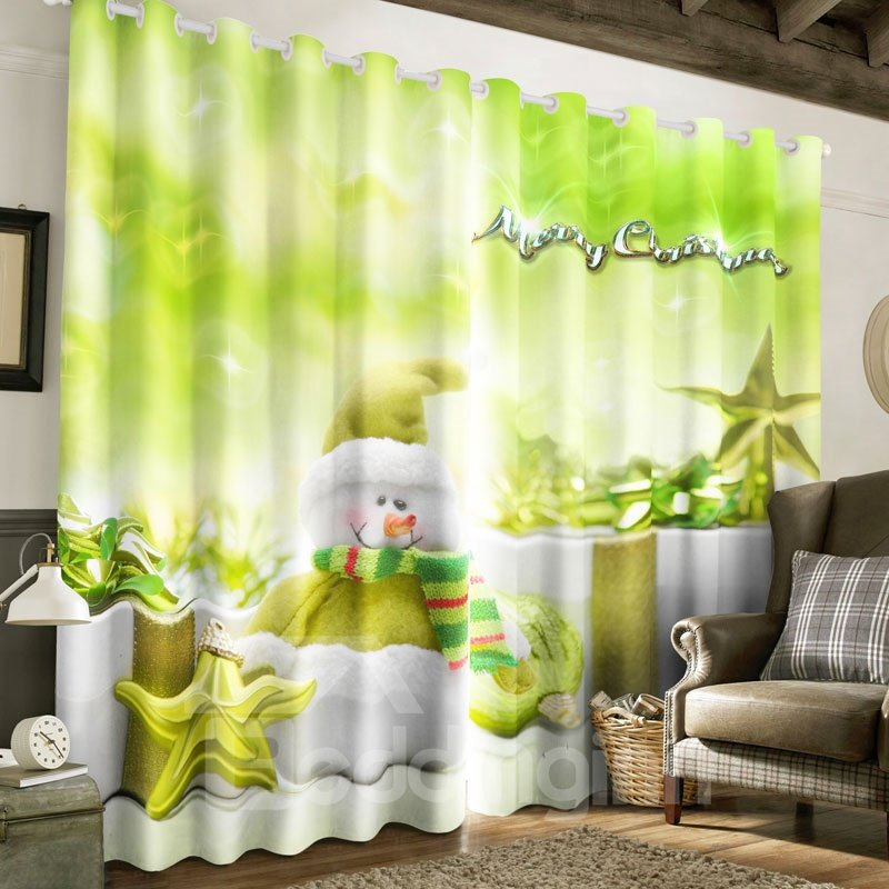 Lovely Snowman with Scarf Printed Polyester Custom Curtain for Living Room Curtain