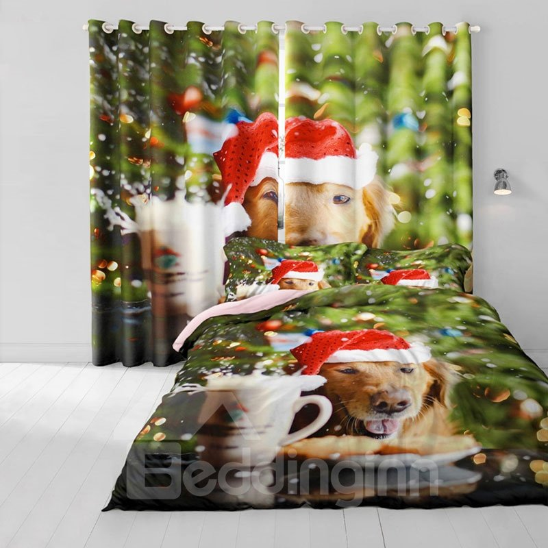 3D Lovely Dog with Christmas Hat Printed 2 Panels Polyester Custom Window Drape