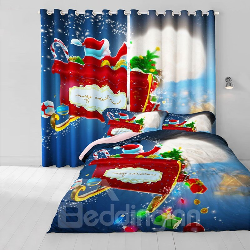 3D Santa Claus and Gift Box Merry Christmas Printed 2 Panels Living Room Curtain