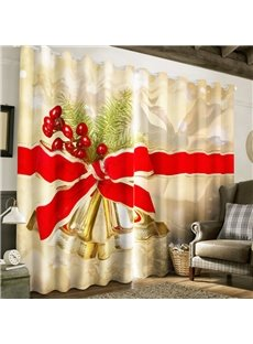 3D Fresh Cherries and Bow Printed Christmas Theme Custom Curtain for Living Room