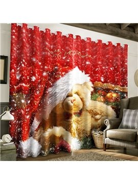 3D White Snow and Lovely Animals Printed 2 Panels Custom Living Room Curtain