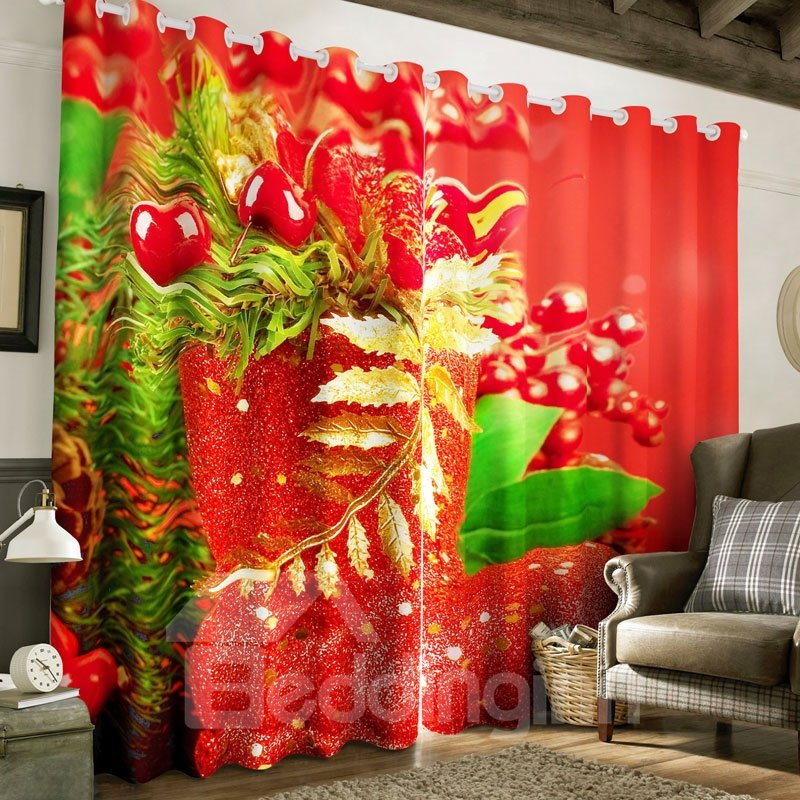 3D Fresh Fruits and Green Leaves Printed Polyester Custom Living Room Curtain
