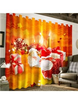 3D Lovely Sheep and Christmas Gifts Printed Custom Decorative Living Room Curtain