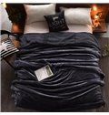 Solid Dark Grey Flannel Reversible Plush Super Soft Fluffy Throw/Bed Blanket