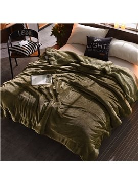 Solid Olive Green Flannel Reversible Plush Super Soft Fluffy Throw/Bed Blanket