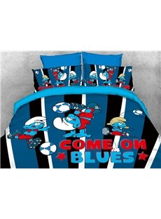 Come on Blues Soccer Smurfs Printed 4-Piece Bedding Sets/Duvet Covers