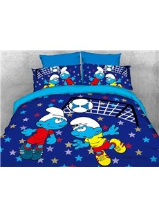 Soccer Smurfs Follow Sports Spirit 4-Piece Bedding Sets/Duvet Covers