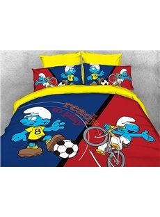 Soccer Smurf and Cyclist Smurf 4-Piece Bedding Sets/Duvet Covers