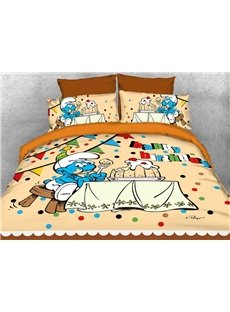 Happy Birthday Greedy Smurf Printed 4-Piece Bedding Sets/Duvet Covers