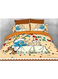 Happy Birthday Greedy Smurf Printed 4-Piece Bedding Sets/Duvet Covers