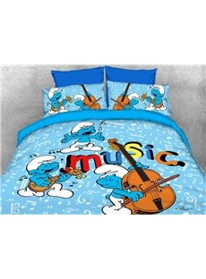 Harmony Smurf Music Concert Printed 4-Piece Blue Bedding Sets/Duvet Covers