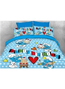 The Smurfs Happy Birthday 4-Piece Blue Bedding Sets/Duvet Covers
