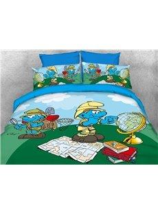 Nature Watcher Jungle Smurfs Printed 4-Piece Bedding Sets/Duvet Covers