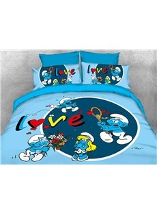 Enamored Smurf Sending Red Flower Bouquet to Smurfette 4-Piece Bedding Sets/Duvet Covers