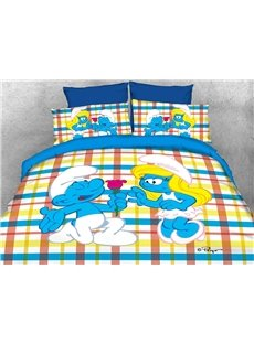 Courting Smurf Smurfette Valentine Printed 4-Piece Bedding Sets/Duvet Covers