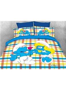 Courting Smurf Smurfette Valentine Printed 4-Piece Bedding Sets/Duvet Covers