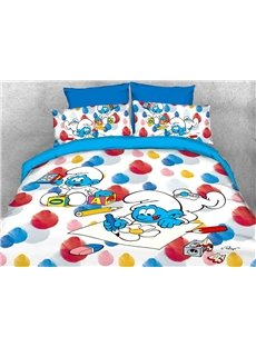 Baby Smurf Painting Flower and Building Blocks 4-Piece Bedding Sets/Duvet Covers