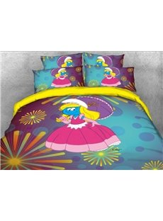 Princess Smurfette with Pink Dress Fireworks Printed 4-Piece Bedding Sets/Duvet Covers